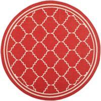 Safavieh Courtyard 6-Foot 7-Inch x 6-Foot 7-Inch Remi Indoor/Outdoor Rug in Red/Beige