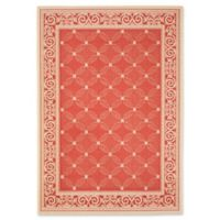 Safavieh Courtyard 5-Foot 3-Inch x 7-Foot 7-Inch Aria Indoor/Outdoor Rug in Red/Natural