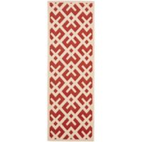 Safavieh Courtyard 2-Foot 3-Inch x 6-Foot 7-Inch Henley Indoor/Outdoor Rug in Red/Bone