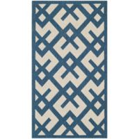 Safavieh Courtyard 4-Foot x 5-Foot 7-Inch Henley Indoor/Outdoor Rug in Navy/Beige