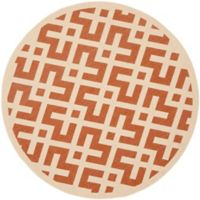 Safavieh Courtyard 6-Foot 7-Inch x 6-Foot 7-Inch Henley Indoor/Outdoor Rug in Terracotta/Bone