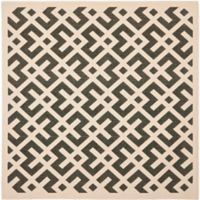 Safavieh Courtyard 6-Foot 7-Inch x 6-Foot 7-Inch Henley Indoor/Outdoor Rug in Black/Beige