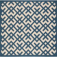 Safavieh Courtyard 6-Foot 7-Inch x 6-Foot 7-Inch Henley Indoor/Outdoor Rug in Navy/Beige