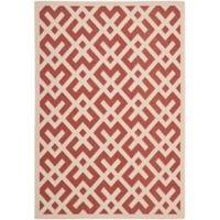 Safavieh Courtyard 6-Foot 7-Inch x 9-Foot 6-Inch Henley Indoor/Outdoor Rug in Red/Bone