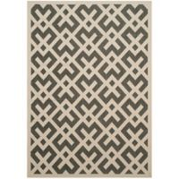 Safavieh Courtyard 6-Foot 7-Inch x 9-Foot 6-Inch Henley Indoor/Outdoor Rug in Black/Beige