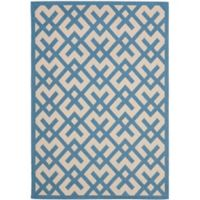 Safavieh Courtyard 6-Foot 7-Inch x 9-Foot 6-Inch Henley Indoor/Outdoor Rug in Beige/Blue