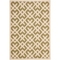 Safavieh Courtyard 6-Foot 7-Inch x 9-Foot 6-Inch Henley Indoor/Outdoor Rug in Green/Bone