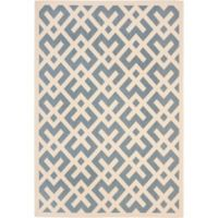 Safavieh Courtyard 6-Foot 7-Inch x 9-Foot 6-Inch Henley Indoor/Outdoor Rug in Blue/Bone