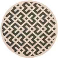 Safavieh Courtyard 7-Foot 10-Inch x 7-Foot 10-inch Henley Indoor/Outdoor Rug in Black/Beige