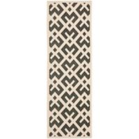 Safavieh Courtyard 2-Foot 3-Inch x 12-Foot Henley Indoor/Outdoor Rug in Black/Beige