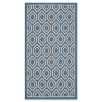 Safavieh Courtyard 2-Foot 7-Inch x 5-Foot Lauryn Indoor/Outdoor Rug in Blue/Beige