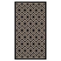 Safavieh Courtyard 2-Foot 7-Inch x 5-Foot Lauryn Indoor/Outdoor Rug in Black/Beige