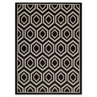 Safavieh Courtyard 5-Foot 3-Inch x 7-Foot 7-Inch Lauryn Indoor/Outdoor Rug in Black/Beige