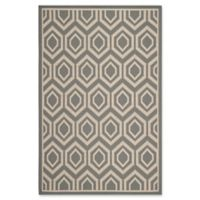 Safavieh Courtyard 9-Foot x 12-Foot Lauryn Indoor/Outdoor Rug in Anthracite/Beige