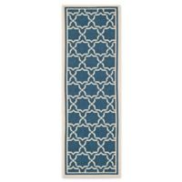 Safavieh Courtyard 2-Foot 3-Inch x 10-Foot Mariam Indoor/Outdoor Rug in Navy/Beige