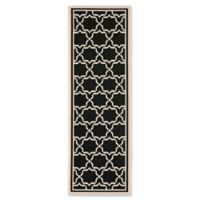 Safavieh Courtyard 2-Foot 4-Inch x 14-Foot Mariam Indoor/Outdoor Rug in Black/Beige
