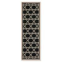 Safavieh Courtyard 2-Foot 4-Inch x 14-Foot Mariam Indoor/Outdoor Rug in Black/Beige