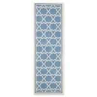 Safavieh Courtyard 2-Foot 4-Inch x 14-Foot Mariam Indoor/Outdoor Rug in Blue/Beige