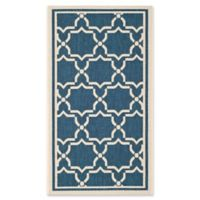 Safavieh Courtyard 4-Foot x 5-Foot 7-Inch Mariam Indoor/Outdoor Rug in Navy/Beige
