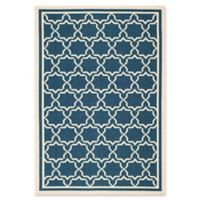 Safavieh Courtyard 5-Foot 3-Inch x 7-Foot 7-Inch Mariam Indoor/Outdoor Rug in Navy/Beige