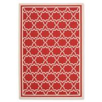 Safavieh Courtyard 6-Foot 7-Inch x 9-Foot 6-Inch Mariam Indoor/Outdoor Rug in Red/Bone