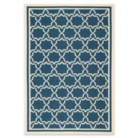 Safavieh Courtyard 6-Foot 7-Inch x 9-Foot 6-Inch Mariam Indoor/Outdoor Rug in Navy/Beige