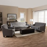 Baxton Studio Arcadia Button-Tufted Upholstered 3-Piece Sofa Set in Grey