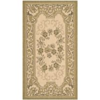 Safavieh Courtyard 2-Foot 7-Inch x 5-Foot Alma Indoor/Outdoor Rug in Cream/Green