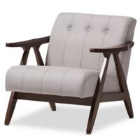 Baxton Studio Enya Lounge Chair in Grey/Walnut