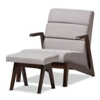 Baxton Studio Vino Lounge Chair Set in Walnut/Grey