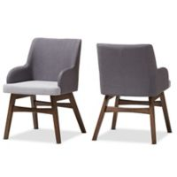Baxton Studio Monte Dining Arm Chair in Grey (Set of 2)