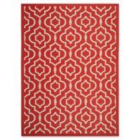 Safavieh Courtyard 9-Foot x 12-Foot Ansley Indoor/Outdoor Rug in Red/Bone