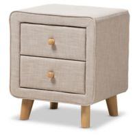 Baxton Studio Jonesy Upholstered 2-Drawer Nightstand in Beige