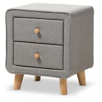 Baxton Studio Jonesy Upholstered 2-Drawer Nightstand in Grey