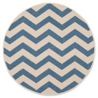 Safavieh Courtyard Abby 4-Foot Round Indoor/Outdoor Accent Rug in Blue/Beige