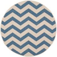 Safavieh Courtyard Abby 5-Foot 3-Inch Round Indoor/Outdoor Area Rug in Blue/Beige