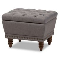 Baxton Studio Annabelle Upholstered Ottoman in Light Grey