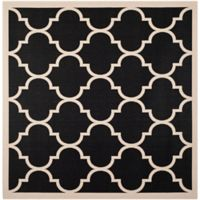 Safavieh Courtyard 7-Foot 10-Inch x 7-Foot 10-inch Jessa Indoor/Outdoor Rug in Black/Beige