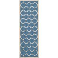 Safavieh Courtyard 2-Foot 3-Inch x 8-Foot Jessa Indoor/Outdoor Rug in Blue/Beige