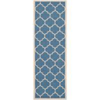 Safavieh Courtyard 2-Foot 3-Inch x 10-Foot Jessa Indoor/Outdoor Rug in Blue/Beige