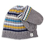 Cuddl Duds® Infant 2-Piece Stripe Beanie Hat and Mitten Set in Grey
