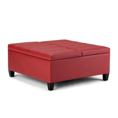 Simpli Home Ellis Upholstered Coffee Table Ottoman In Crimson Red Faux Leather