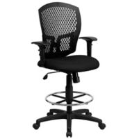 Flash Furniture 45.75-Inch - 50-Inch Adjustable Mesh Drafting Stool with Arms in Black