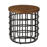 Baxton Studio Carie End Table in Brown/Black