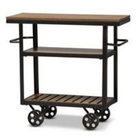 Baxton Studio Kennedy Mobile Serving Cart in Brown/Black