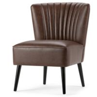 Simpli Home Hollyford Accent Chair in Brown