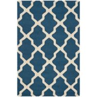 Safavieh Cambridge 3-Foot x 5-Foot Quatrefoil Rug in Navy Blue/Ivory