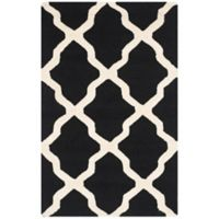 Safavieh Cambridge 2-Foot 6-Inch x 4-Foot Quatrefoil Rug in Black/Ivory
