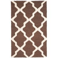 Safavieh Cambridge 2-Foot 6-Inch x 4-Foot Quatrefoil Rug in Dark Brown/Ivory