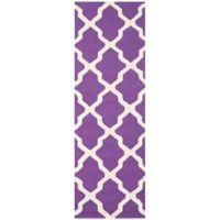 Safavieh Cambridge 2-Foot 6-Inch x 12-Foot Quatrefoil Rug in Purple/Ivory